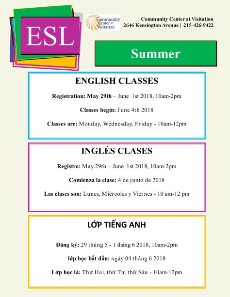 Summer ESL Flyer 2018